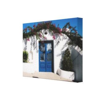 Puerta griega en la lona de Míkonos Impresión En Tela