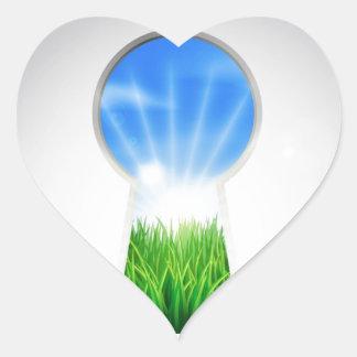 Puerta idílica del ojo de la cerradura del paisaje pegatinas corazon personalizadas