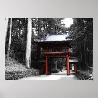 Puerta japonesa antigua póster