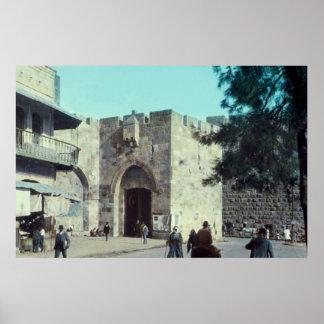 Puerta Jerusalén Israel 1950 - 77 de Jaffa del vin Póster