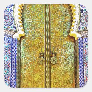 Puerta marroquí exquisitamente detallada del pegatina cuadrada