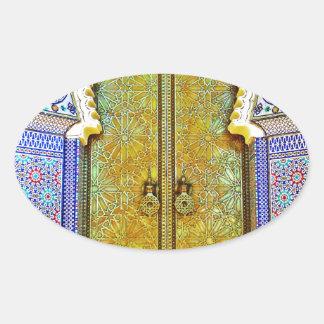 Puerta marroquí exquisitamente detallada del pegatina ovalada