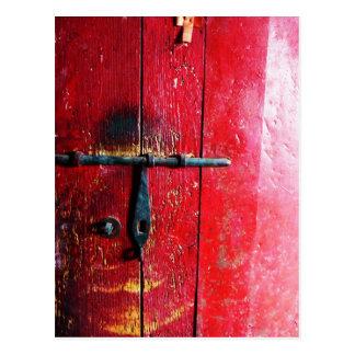 Puerta mexicana roja postal