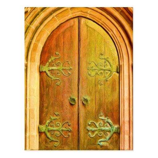 Puerta NYC de la iglesia de la trinidad Tarjeta Postal