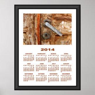Puerta oxidada vieja de 2014 calendarios impresiones