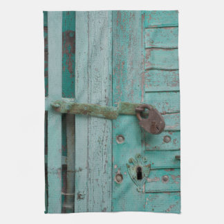 Puerta resistida de la turquesa toallas de mano