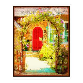 Puerta roja con la puerta floral tarjetas postales