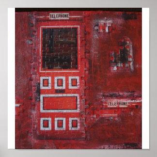 Puerta roja del rompecabezas en lona impresiones