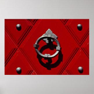 Puerta roja vieja en Zurich Suiza Impresiones