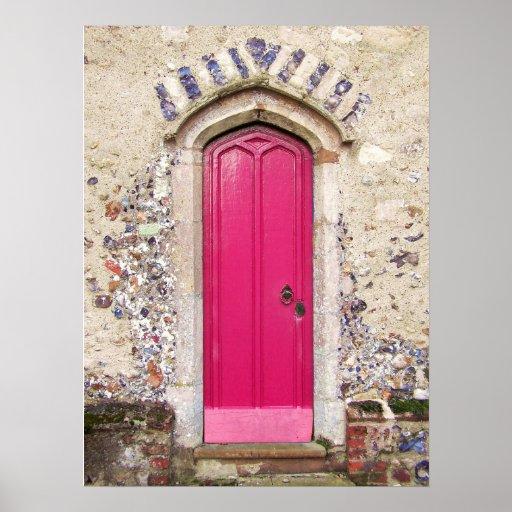 Puerta rosada vieja poster