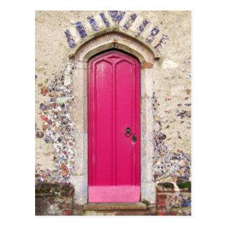 Puerta rosada vieja tarjetas postales