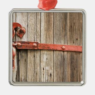 Puerta rústica vieja del tren de ferrocarril adorno de navidad