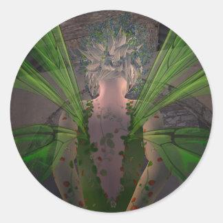 Puerta secreta verde de la hada @ pegatina redonda