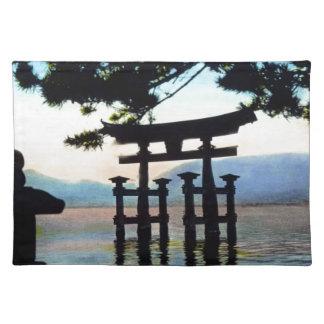 Puerta tradicional del vintage de Torri del japoné Mantel Individual