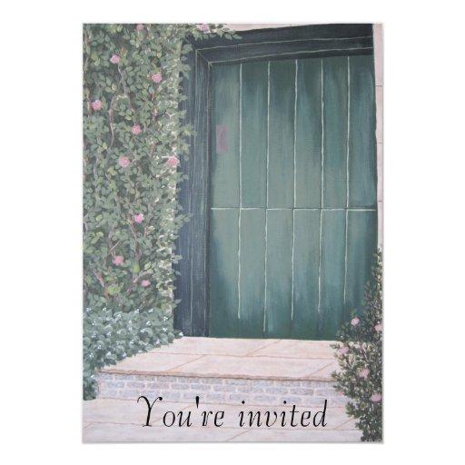 """puerta verde, le invitan invitación 5"""" x 7"""""""