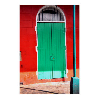 Puerta verde y pared roja, New Orleans Póster