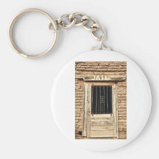 Puerta vieja de la cárcel en blanco y negro llavero redondo tipo pin