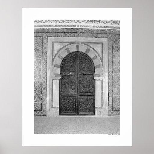 Puerta vieja de la mezquita (B&W) Póster