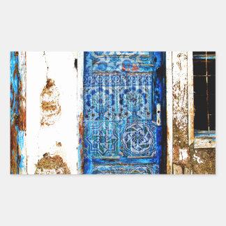 Puerta vieja del azul de Grecia del vintage Pegatina Rectangular