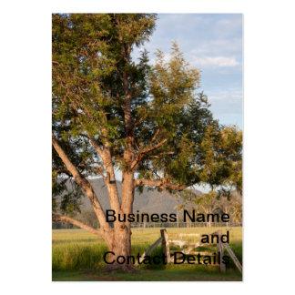 Puerta y árbol de la granja con las colinas tarjetas de visita grandes