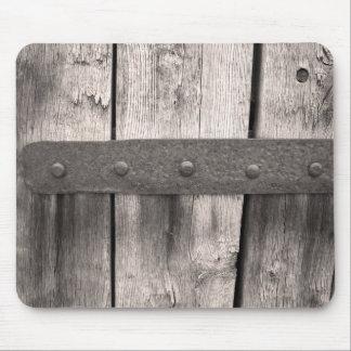 Puerta y bisagra de madera rústicas tapete de ratón