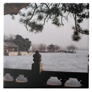 Puerta y follaje por el lago congelado, China Azulejo Cuadrado Grande