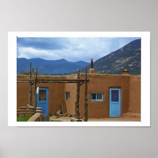 Puertas azules del pueblo 2 de Taos Póster