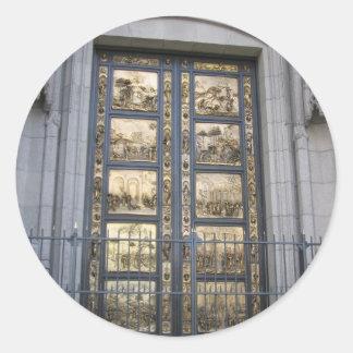 Puertas de Ghiberti Pegatina Redonda