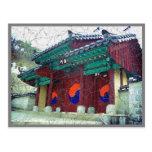 Puertas del templo con la Corea del Sur de Ying Ya Tarjetas Postales