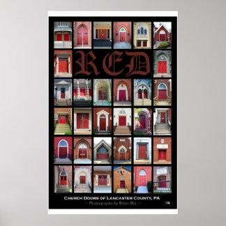 Puertas ROJAS de la iglesia del condado de Lancas