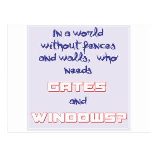 Puertas y ventanas - chistes del ordenador tarjeta postal