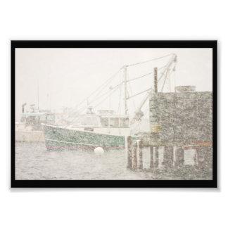 Puerto bajo en la nevada pesada, costa de Maine Impresiones Fotográficas