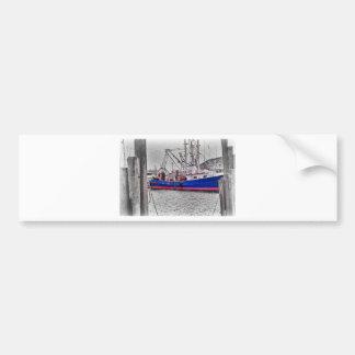 Puerto blanco negro del efecto del color del barco etiqueta de parachoque
