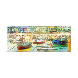 Puerto como pintura lienzo envuelto para galerías