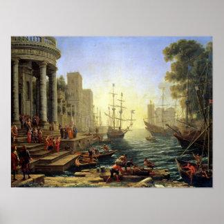 Puerto con el embarque de Santa Ursula Posters