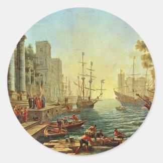 Puerto con el embarque de Santa Ursula Pegatina