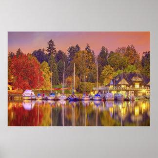 Puerto crepuscular en otoño posters