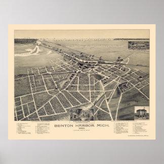 Puerto de Benton, mapa panorámico de Michigan - 18 Póster
