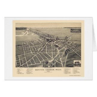 Puerto de Benton, mapa panorámico de Michigan - Tarjeta De Felicitación