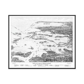 Puerto de Boston al mapa temprano de los 1900s de  Lona Envuelta Para Galerias