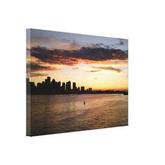Puerto de Boston en la puesta del sol Impresión En Lona