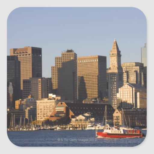 Puerto de Boston, Massachusetts Pegatina Cuadrada