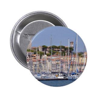 Puerto de Cannes en Francia Pin Redondo De 2 Pulgadas
