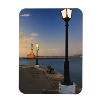 Puerto de Chania y faro veneciano en la puesta del Iman Rectangular