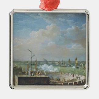 Puerto de Cherbourg, 1822 Adorno Navideño Cuadrado De Metal