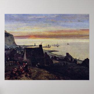 Puerto de etretat de Johan Barthold Jongkind Póster