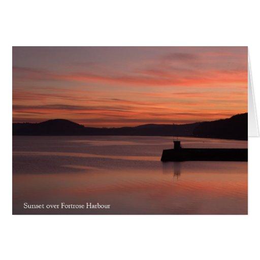 Puerto de Fortrose de la puesta del sol Felicitación