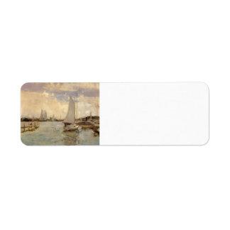 Puerto de Gloucester de John Henry Twachtman Etiqueta De Remite
