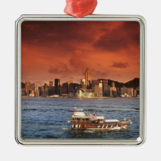 Puerto de Hong Kong en la puesta del sol Ornamentos De Reyes Magos