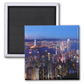 Puerto de Hong Kong Victoria en la noche Imán Cuadrado